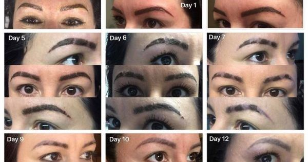Microblading healing process including days 1 through 14 ...