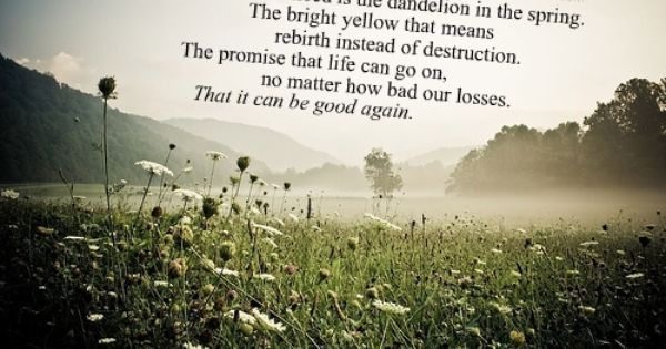 I want this quote with a dandelion! of all the beautiful words