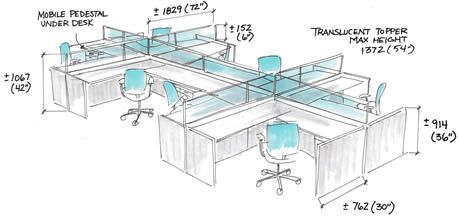 Workstations Vary In Size Depending On Their Function And Accommodate Average Requirements For Work Sur Design Studio Office Office Cubicle Office Workstations
