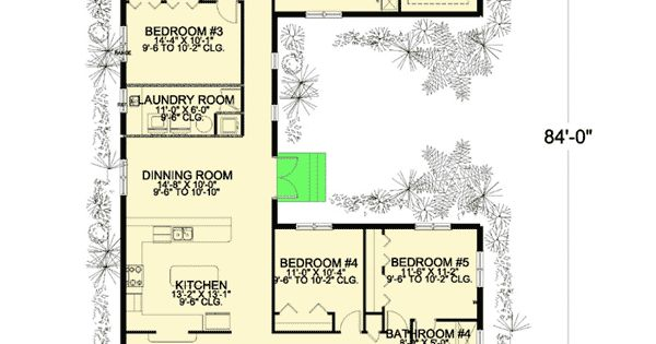 plan 32221aa: 6 bedroom u-shaped house plan   offices, living