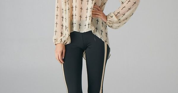 Taupe All Over Cross Print Hi-Lo Top, Top, cross print asymmetric top,