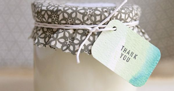 "soy wax candle favors with ""thank you"" watercolor tags // diy wedding"