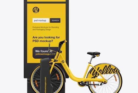 Download Bicycle Sharing System Mockup In Vehicle Mockups On Yellow Images Object Mockups Mockup Psd Mockup Free Psd Mockup