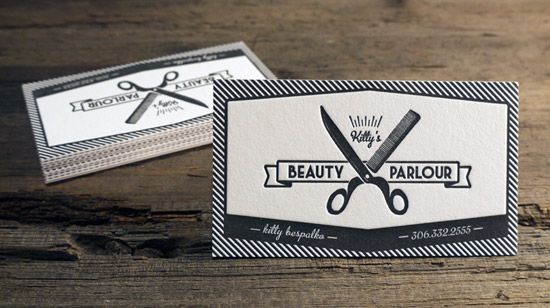 Kitty S Beauty Parlour Letterpress Business Cards Cool Business Cards Letterpress Business Cards Printing Business Cards