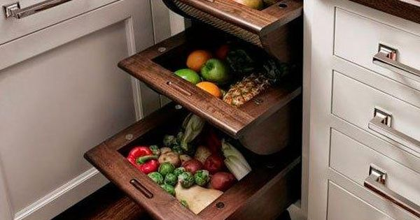 Smart Kitchen Storage Pull Out Basket Drawers For Fruits
