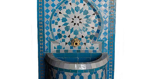 Fuente de agua mosaico celeste decoracion arabe - Fuentes de agua decoracion ...
