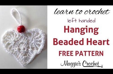 Free Crochet Hanging Heart Pattern : Hanging Beaded Heart Free Crochet Pattern - Left Handed ...