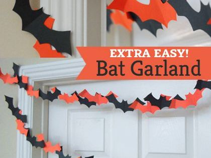 Easy Kid's Halloween Party Decorations - DIY Paper Bat Garland