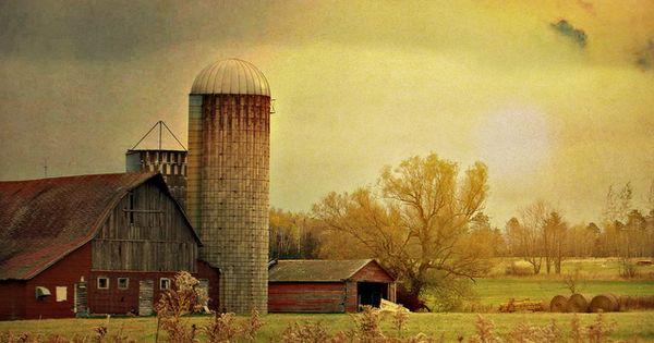 Faded Red Barn Painting