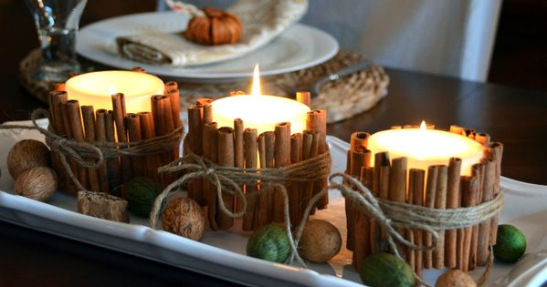 Cinnamon sticks candle holders!