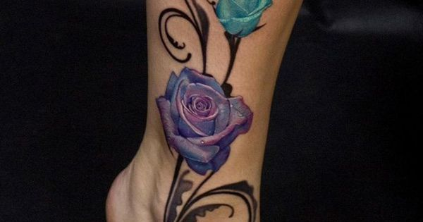 3d elegante farbige rosen mit schmetterling tattoo am. Black Bedroom Furniture Sets. Home Design Ideas