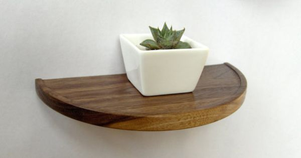 Half round walnut shelf - floating wood shelf | Shelves