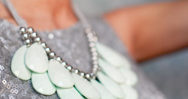 mint necklace & silver sequins