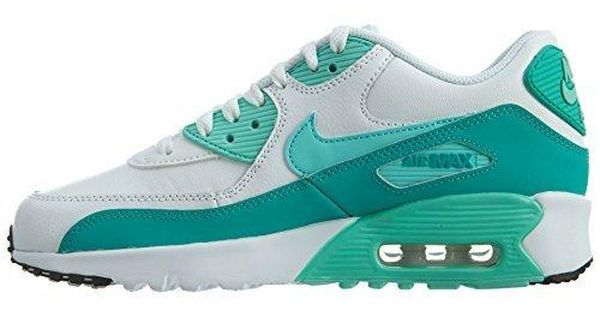 free shipping 83f4c 49a40 Nike Air Max 90 Letter Big Kids Style Shoes   833376, White Hyper  Turquoise Clear Jade, 7