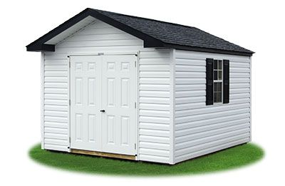 10x12 Vinyl Sided Front Entry Peak Storage Shed Available At Pine Creek Structures Vinyl Shingle Siding Shingle Siding Shed