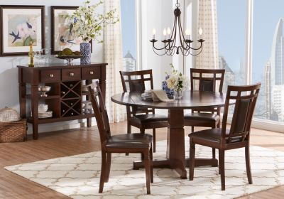 Riverdale Cherry 5 Pc Round Dining Room Round Dining Room Table Rooms To Go Furniture Marble Tables Living Room
