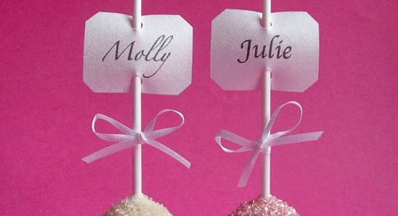 Cute Idea: Cake Pop Place Cards and wedding favor