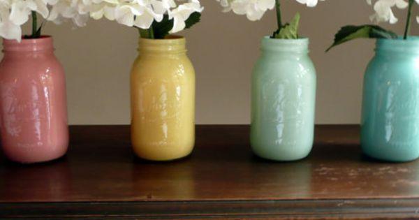 (painted?) Mason Jar Vases. Mason Jar Vases by Beach Blues A set