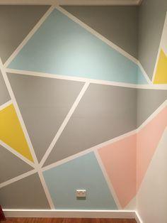 80 Cute Bedroom Design Ideas Pink Green Walls Diy Wall Painting Geometric Wall Paint Geometric Wall