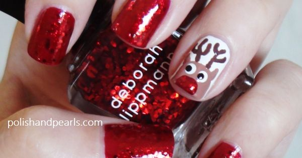 Such a cute Rudolph nail design for Christmas!!!