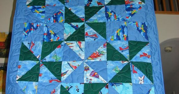 Baby Quilt For Boy Made Using 6 1 2 Inch Half Square