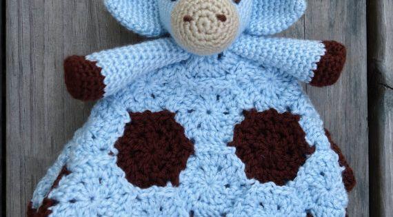 Free Crochet Pattern Giraffe Blanket : Geri the Giraffe Crochet Lovey/ Security Blanket: Blue ...