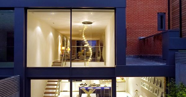 Rear External Night Exquisite House In London With Double