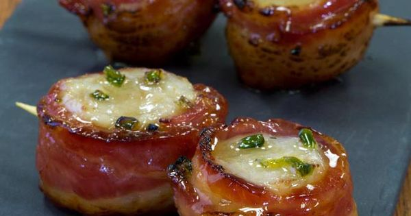 scallops wrapped in savory #bacon, drizzled with a maple glaze ...