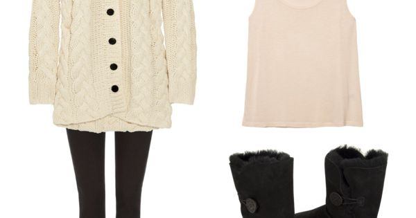 """sweet"" by cutegirl48 on Polyvore, cream cardigan black leggings beige tank with"