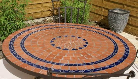 Table jardin moza que en fer forg table jardin mosaique ronde 110cm terre cuite 3 cercles bleue - Table jardin mosaique ronde versailles ...