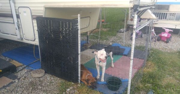 Dog Cage Connected To 5th Wheel Camper Pinteres