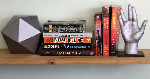 Geek Decor Diy Geeky Bookends Giant D20 Llap Star Trek Hand Our Nerd Home Pinterest