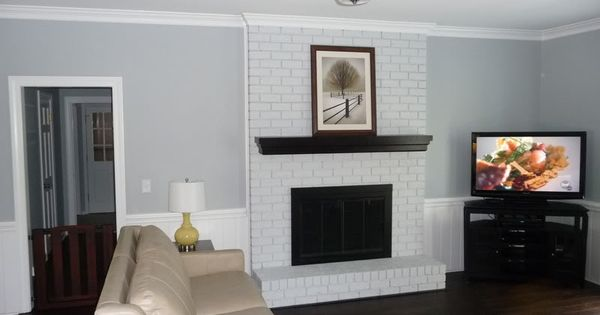 Painted Brick Fireplace Kitchen Dining Room Diy