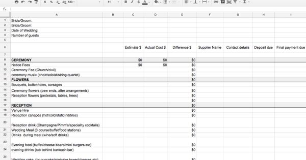 couples budget spreadsheet