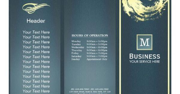 Tri-Fold Gold Blue Monogram Yoga Massage Brochures - music brochure