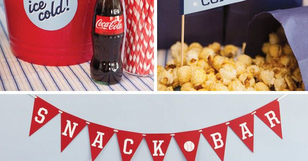 Snack Bar at Baseball themed party. baseball boy party