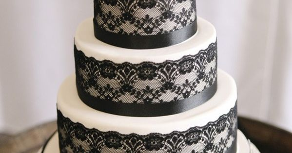 Black Lace Cake (maybe use red flowers on top instead of white?)
