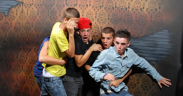 Scared Bros At A Haunted House These hidden camera shots from Nightmares
