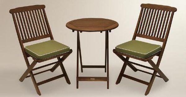 Cavallo 3 Piece Bistro Set With Sage Cushions Bistro Set Teak Outdoor Furniture And Balconies