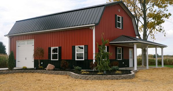 Barn Red Siding With Black Roof 12 39 Side Walls Exterior