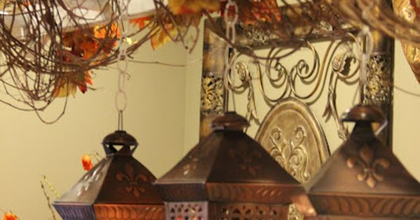 hanging autumn lanterns, so pretty love this Hanging from a ladder