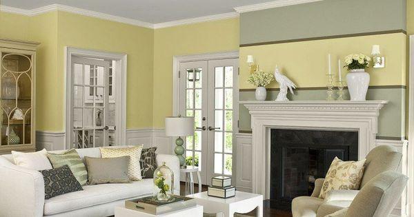 Peinture murale dans le salon et id es de d co en 25 for Peinture murale jaune pastel