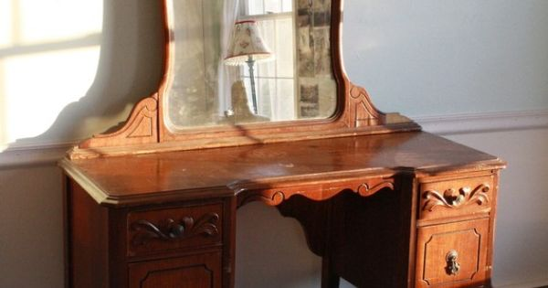 Antique 1940s Wooden Mahogany Mirrored Vanity by ...