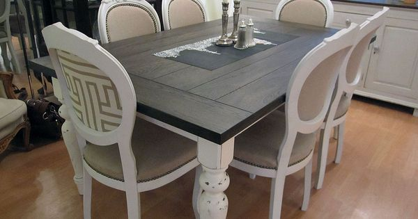 Painted dining room tables dining room table before for Table 52 houston