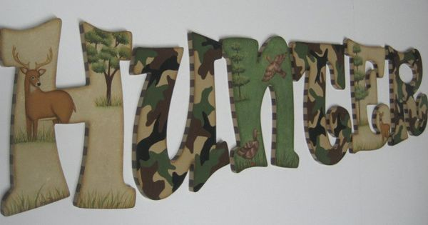Camo Baby Nursery Handpainted Wall letters Hunting Outdoor Theme with Buck, Doe
