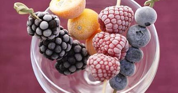 party idea: frozen fruit skewers, pour sparkling water or champagne over and