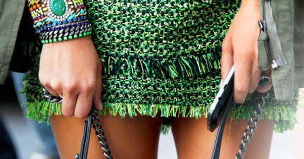 Miroslava Duma, green, lanvin, Chanel, street style pantone emerald green 2013