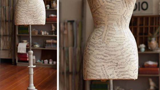 Decoupaged dress form