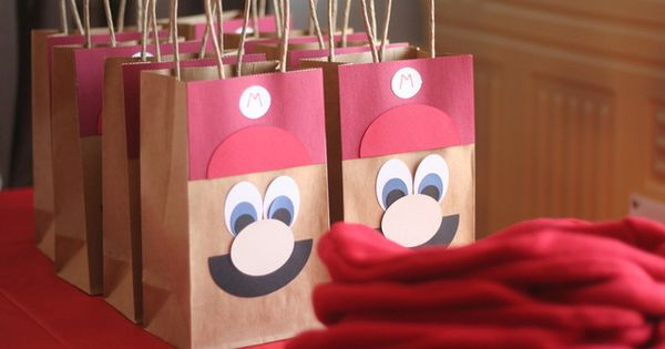 super mario birthday party ideas - favor bags