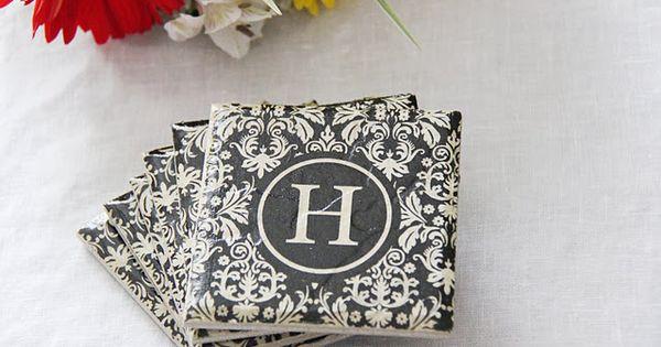 Wedding Shower: Make monogrammed tile coasters with paper napkins. OR save 4-6